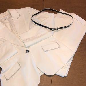 TAHARI White Fully Lined Suit Jacket and Slacks